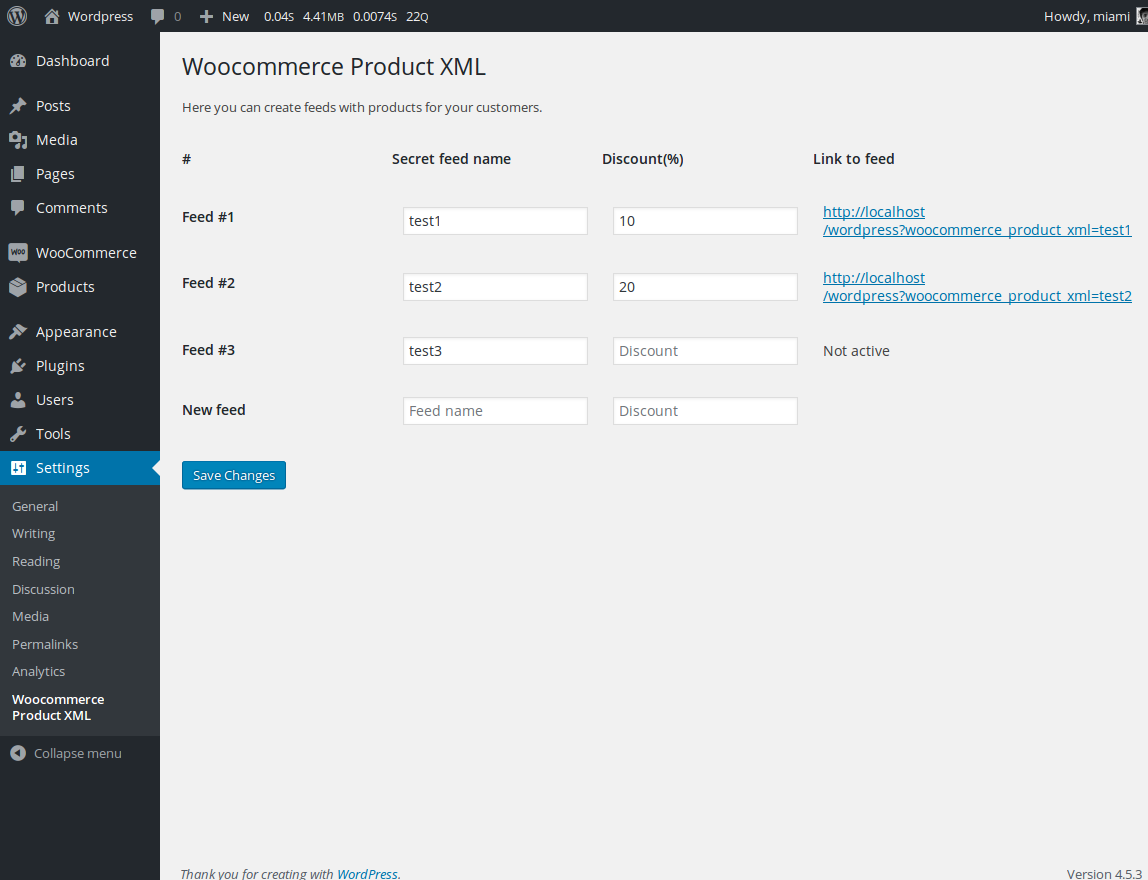 Woocommerce Product XML settings page